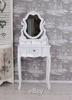 Vintage Coiffeuse Blanc Console Table de Toilette Shabby Chic